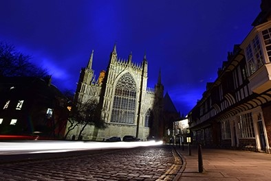 A view of York minster at night